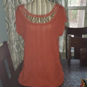 Lucky Brand orange blouse with wooden bead details